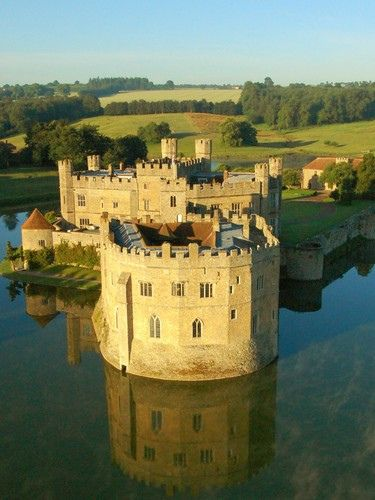 Leeds Castle, Kent, UK view from  Hot Air Balloon, one of the most beautiful castles ever