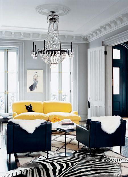 black & white + yellow