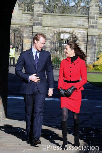 Prince William and Catherine Middleton in the grounds of St. Andrew's University during their visit to the town where they met. February 28, 2012.