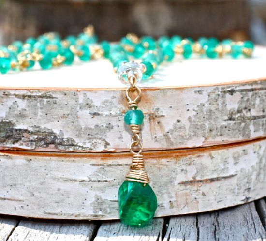 Emerald Green Wire Wrapped Necklace Emerald Briolette by amyfine