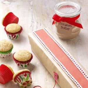 Cinnamon Mini Muffins and Cinnamon Butter Recipe from Taste of Home. --Tuck little muffins inside a recycled foil container decorated with pretty paper for a cute and delicious gift. -- Submitted by Phyllis Kelley of Gainesville, Florida #Food_Gift