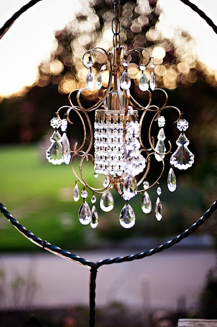 Love outdoor chandeliers!