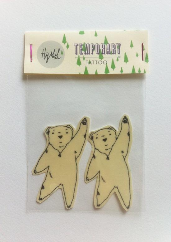 Flying bear wearing diamond necklace illustration // Temporary tattoo. €6.50, via Etsy.