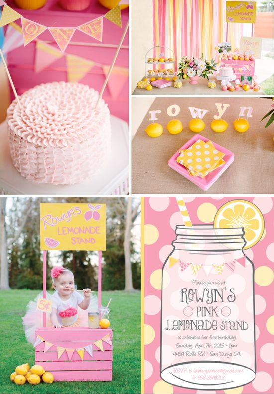 Pink lemonade stand themed birthday party with SUCH CUTE ideas!! Via Karas Party Ideas KarasPartyIDeas.com #lemonade #pink #girly #birthday #party #1st #stand #supplies #cake #cupcakes #idea #ideas