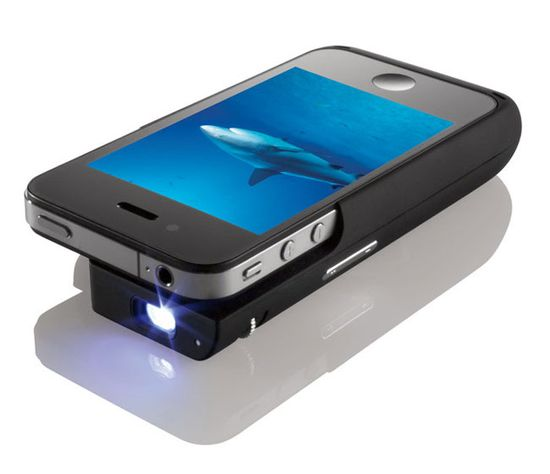 """iPhone Projector Case by Texas Instruments and Brookstone: 15 lumen LED projection lamp capable of projecting a 50"""" image from 8' away with a 640 x 360 pixel native display resolution. Preorder for $230 plus s/h. #iPod_Projector #Brookstone #Texas_Instruments"""