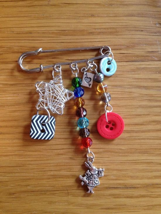 Hand made safety pin brooch - The Supermums Craft Fair