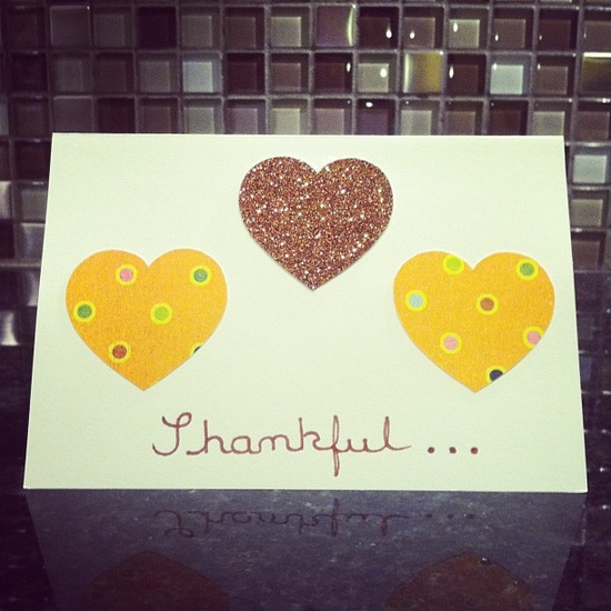 Thankful Hearts Thanksgiving card (handmade by me)