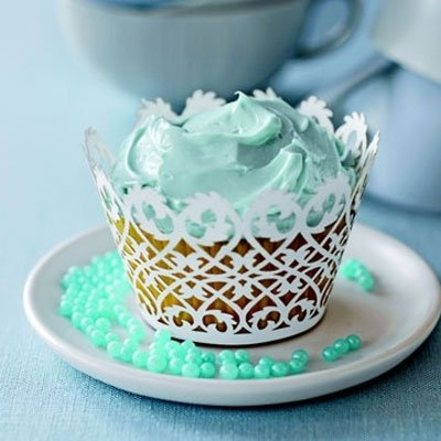 Mint cupcakes - cute for a baby shower