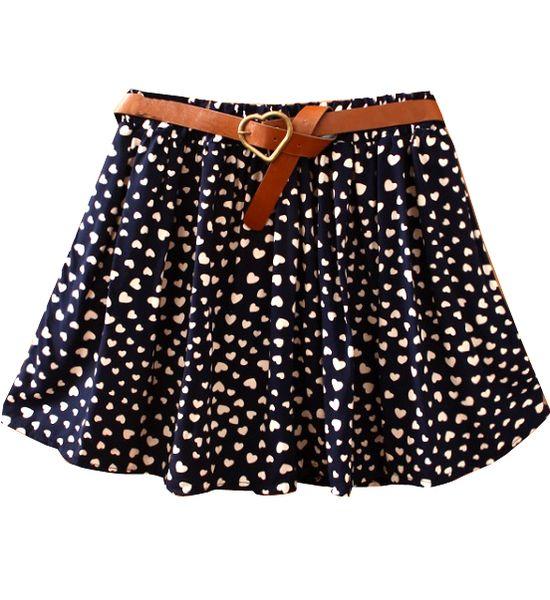 Navy Belt Hearts Print Cotton Skirt
