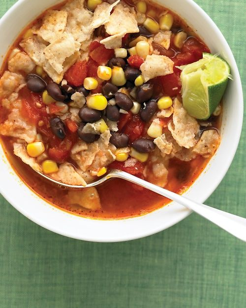 Tortilla Soup with Black Beans -   cooks in just 15 minutes.