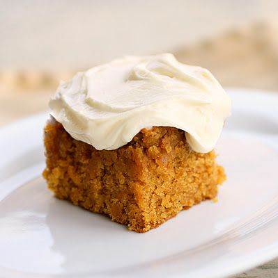 Pumpkin Bars (Cake) - This recipe is moist and full of pumpkin spices. The Girl Who Ate Everything
