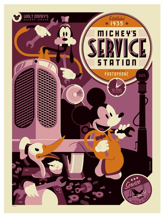 Mickey's Service Station poster - love this!