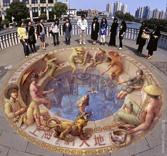 3D Sidewalk Art, Kurt Wenner