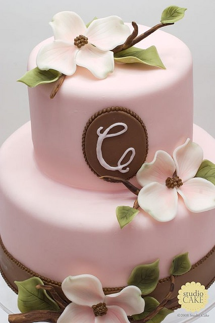 brown and pink cake