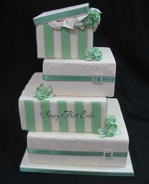 White and green wedding cake