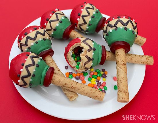 Candy-filled maraca cookies