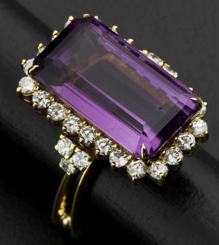 Facetted Amethyst & Diamond 18k Gold