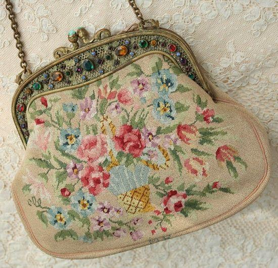 Beautiful multi-coloured floral embroidered vintage handbag. #vintage #purses #handbags #accessories