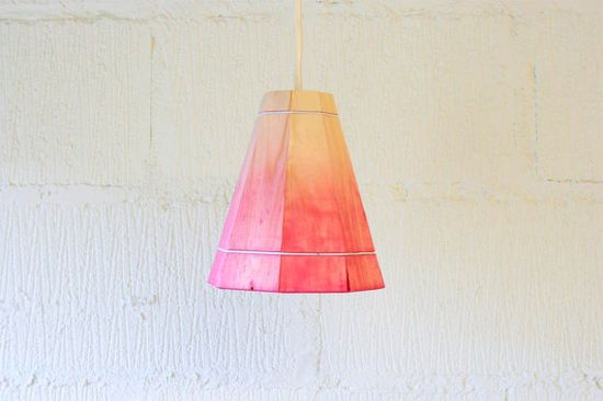 Pink Pendant Lamp Shade Handmade in Recycled Pallet Wood, Small via Etsy
