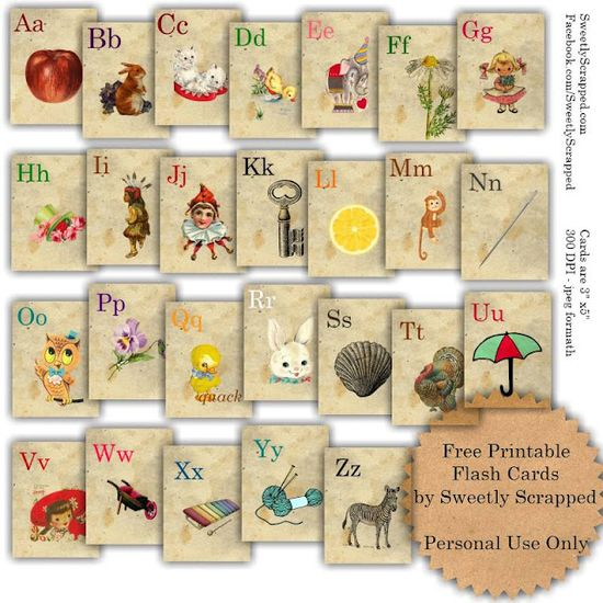 Free printable vintage flash cards. Love these! #ABC #printable