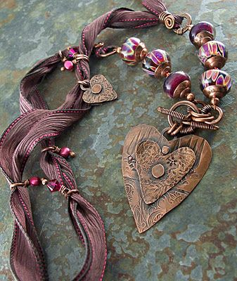 Copper, silk ribbon and lampwork necklace by Lune (The Cerebral Dilettante)