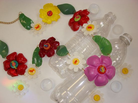 Water bottle crafted jewelry.