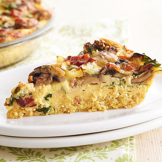 The key to the hearty crust in our irresistible cheesy spinach and mushroom quiche? Quinoa! Try our Hearty Vegetable, Bacon, and Mushroom Quinoa Quiche. Get more quinoa recipes: www.bhg.com/... #myplate #wholegrains