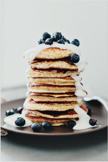 Lemon Pancakes with Yogurt & Berries