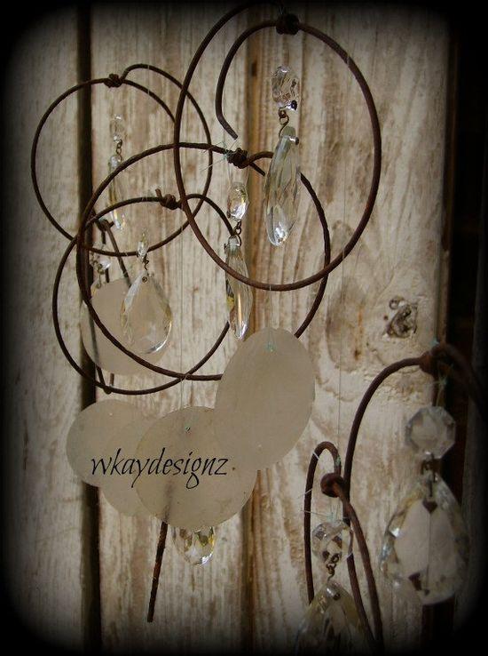 Hand Made Windchime Sun Catcher Repurposed Vintage by WKayDesignz, $39.80