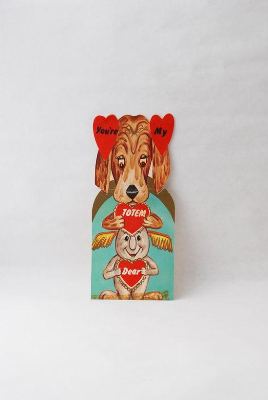 Vintage Valentine Card - Valentines Day, Cute Valentine Card, Valentine Puppy, Vintage Paper Clippings, Vintage Scrapbooking Supply