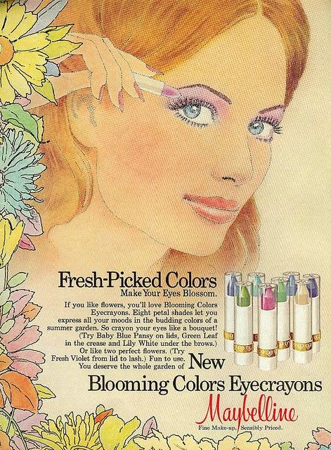 #seventies #1970s #vintage #retro #makeup #ads #cosmetics #beautiful     i think it was the late '70s that really pushed the idea of using rainbow/pastel eyeshadows...