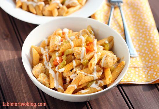 Buffalo Ranch Chicken Pasta from tablefortwoblog.com