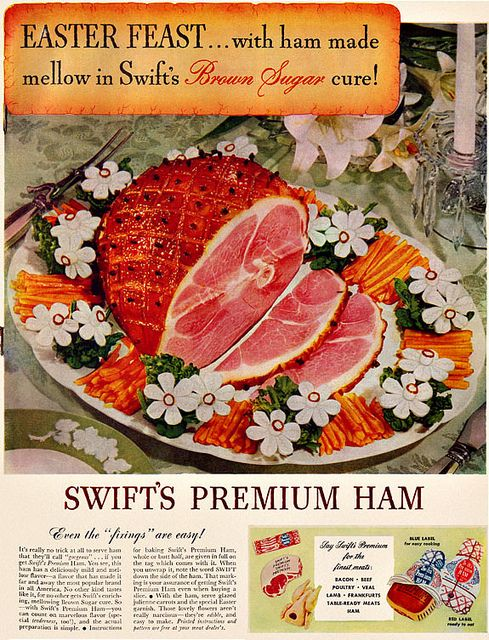 Enjoy an Easter feast with Swift's Brown Sugar Cured Ham. #vintage #1940s #food #Easter #ads