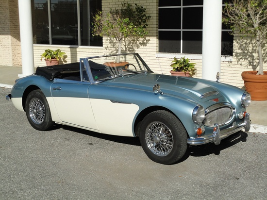 "1967 Austin Healey 3000 Mk III.  The 3000 series was commonly known as the ""big Healey.""  Although the cars were relatively small, they were certainly larger than most other 2 seater roadsters of the era; particularly the ""bugeye"" Sprite.  I've always like the two-tone paint job that some of these had.  Another example of classic British sports car styling."
