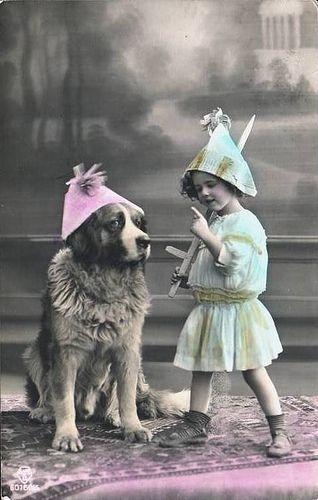 Vintage Postcard ~ Girl & Her Dog