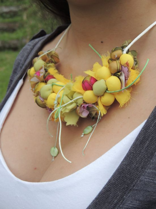 Yellow and green Fabric Necklace Textile by AmazoniaAccessories, €37.00