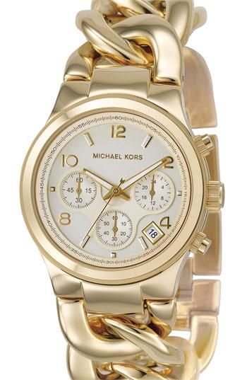 Shiny! MICHAEL Michael Kors Chain Bracelet Chronograph Watch