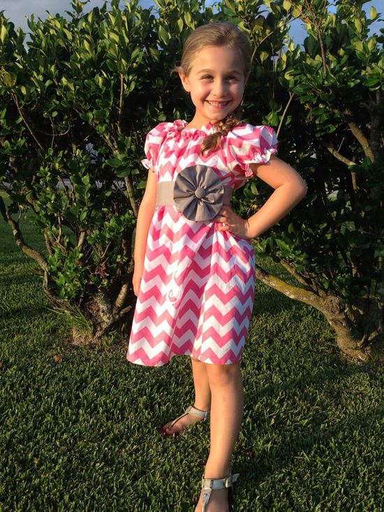 Girl's Pink and White Chevron Peasant Dress with by SmockYourTot, $38.95