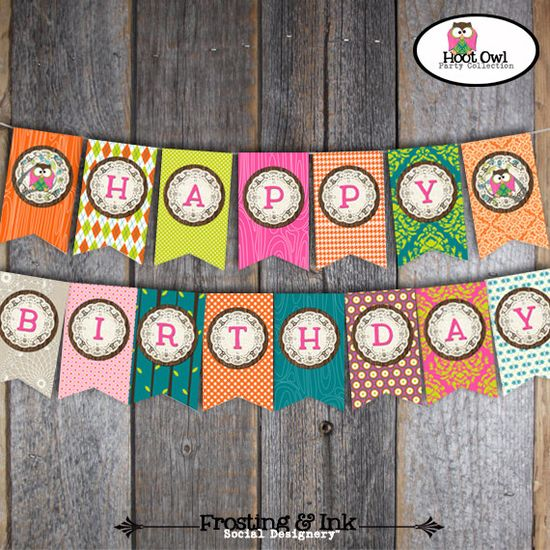 Owl Party / Night Owl Party - Birthday Banner