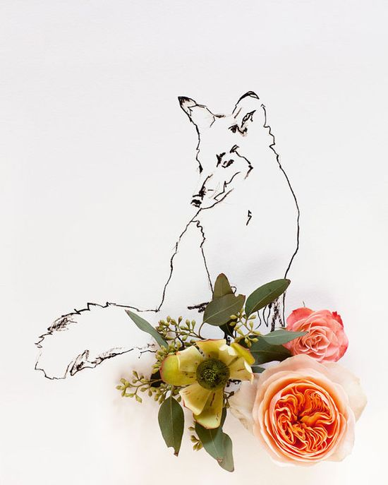 Fox and Flower No. 9887 by kariherer on Etsy, $30.00