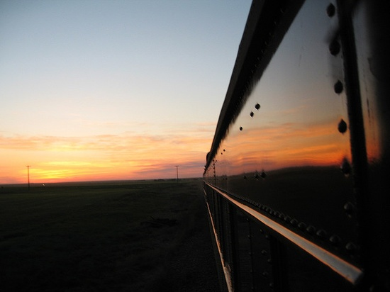 Train Chartering - view from Royal Canadian Pacific of an Albertan sunset, via Flickr.