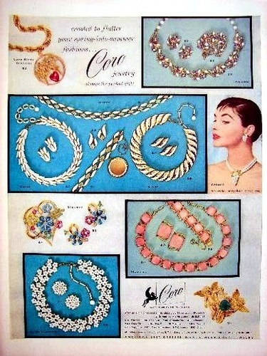 1955 Coro vintage rhinestone jewelry ad featuring neclaces, earrings etc