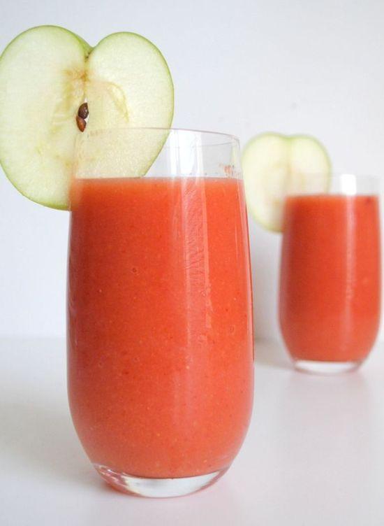 Mango, strawberry, apple smoothie.