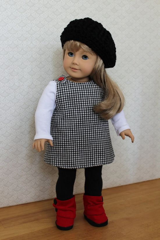 Houndstooth Dress Red Corduroy  Boots Hat and by BrooksideLane, $42.00