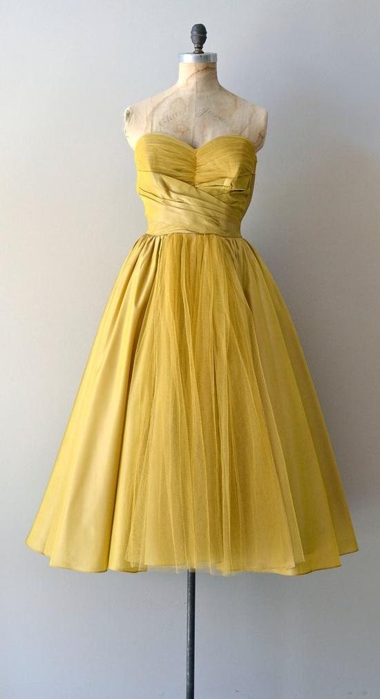 vintage 1950s Beaux Meaux dress    #vintagedress #mustard  #retro #partydress #romantic #feminine #fashion #vintage #designer #classic #dress #highendvintage