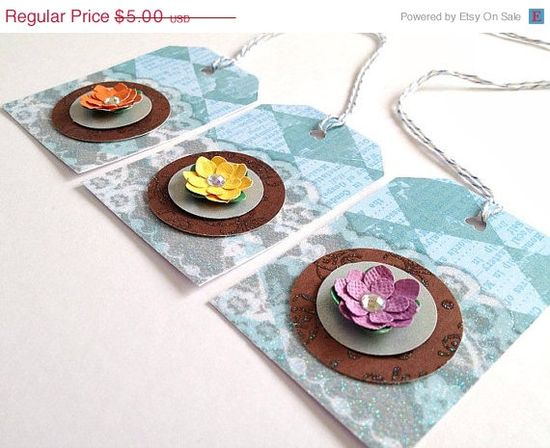 Set of 3 Blue Lace patterned Handmade Paper Flower by CreativeLily