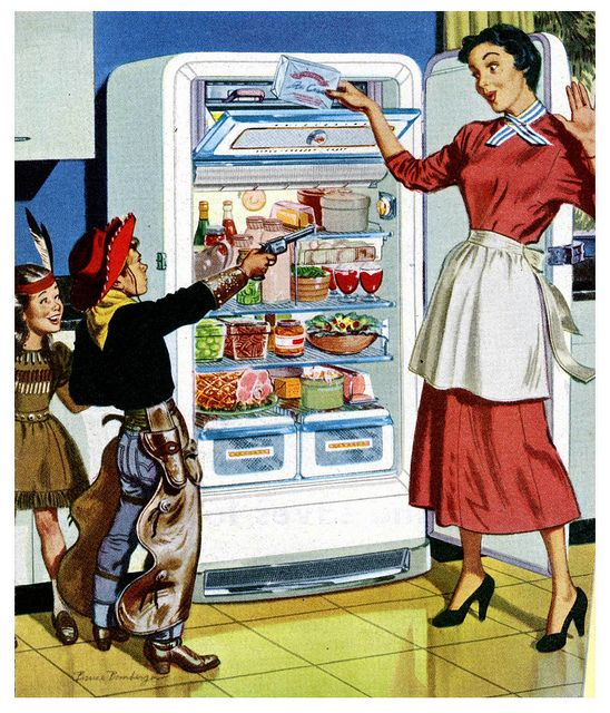 Hand over all your cookies and milk, ma'am, nice and easy! :) #vintage #home #decor #fridge #kitchen #cowboys #mom #housewife #homemaker #1950s