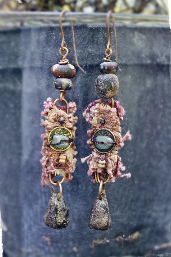 Finding. OOAK rustic tribal assemblage earrings.. $46.00, via Etsy.