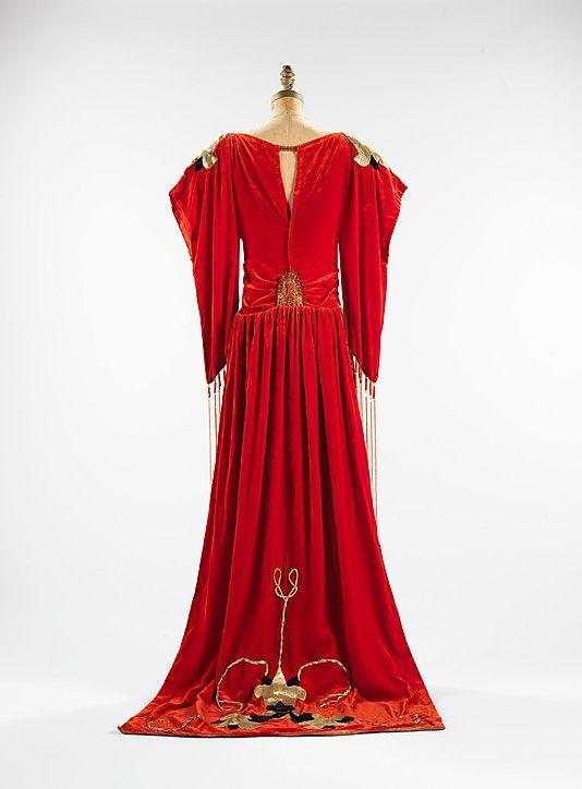 "Red silk velvet ""Robe Sabat"" dress with metallic beadwork and appliqué (back), designed by Paul Poiret, French, 1921."