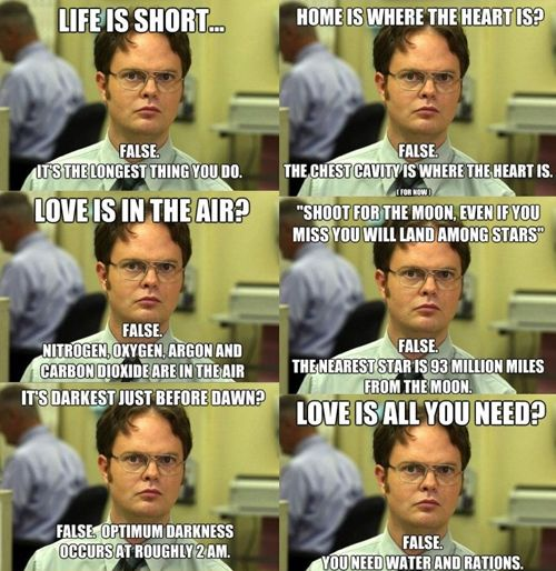 Fact: You can always count on Dwight Shrute to clear up the world's common misconceptions.